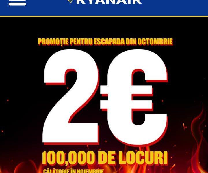 Ryanair: 100.000 de bilete la pret de 2 EURO/segment