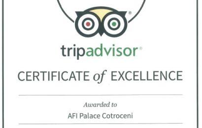 """AFI Palace Cotroceni a primit """"certificatul de excelență"""" de la TripAdvisor în 2015"""