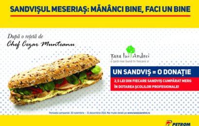 """""""Sandvișul Meseriaș"""" lansat în benzinăriile Petrom ajută elevii din școlile profesionale"""
