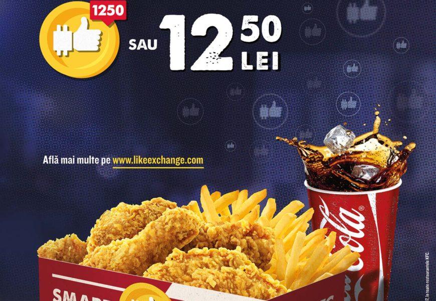 KFC: Poti achizitiona meniul Smart platind cu like-uri