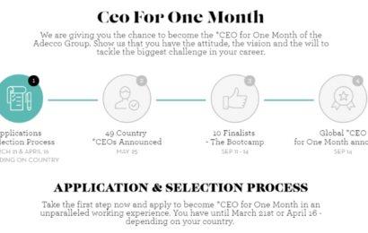 """Addeco a lansat a patra ediție globală a programului """"CEO Pentru o Lună"""""""