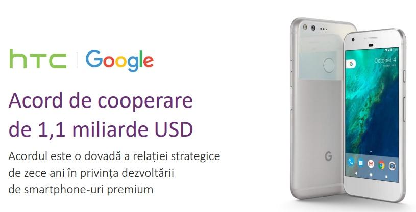 Google și HTC anunță un acord de cooperare în valoare de 1,1 miliarde dolari