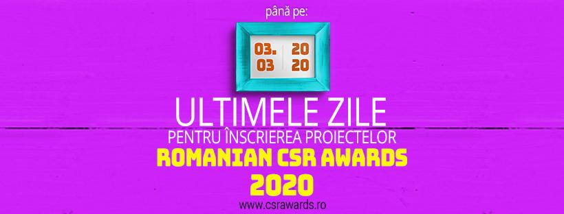 3 MARTIE: Ultima zi pentru inscrierea proiectelor la ROMANIAN CSR AWARDS 2020